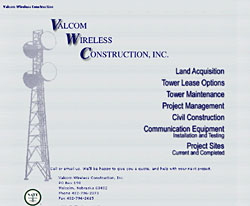 Valcom Wireless Construction, designed and coded site